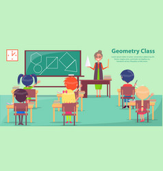 Geometry class with woman teaching small students vector
