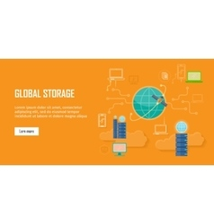 Global storage web banner in flat style vector