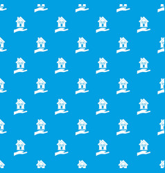 Hand holding house pattern seamless blue vector