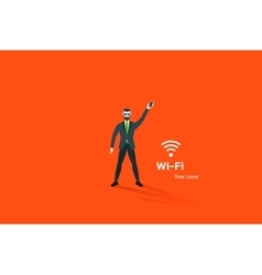 Hipster businessman hold smartphone with wi-fi vector image vector image