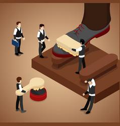 isometric people polishing shoe vector image vector image