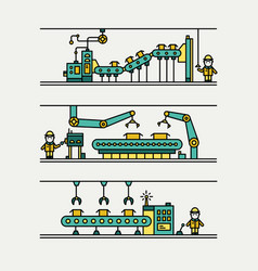 line art conveyor system in flat style vector image vector image