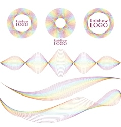 Line rainbow simple brand set vector