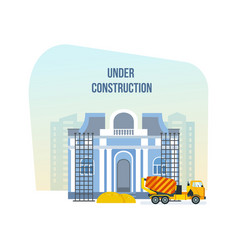 museum under construction next to machinery vector image vector image