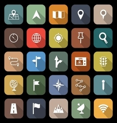 Navigation flat icons with long shadow vector
