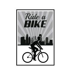 Poster ride a bike cyclist silhouette urban vector