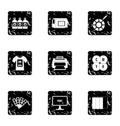 Print icons set grunge style vector