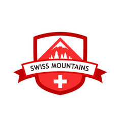 Red logo of swiss mountains vector