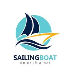 sailing boat abstract logo vector image