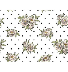 Seamless pattern with flowers on the polka dot vector image