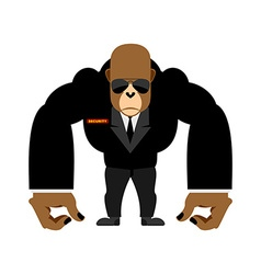 Security guard big gorilla black suit bodyguard vector