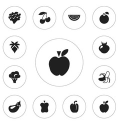 Set of 12 editable berry icons includes symbols vector