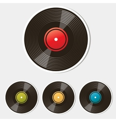 set of vinyl records isolated on white vector image