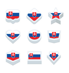 Slovakia flags icons and button set nine styles vector