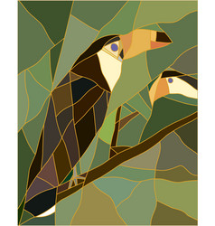 Stained glass of a toucan bird vector image vector image