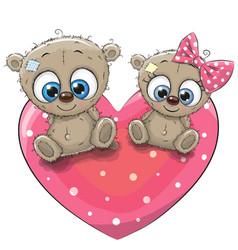 Two cute teddy bears vector