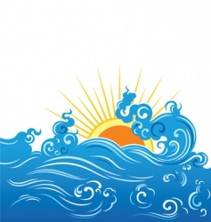 wave and sun vector image