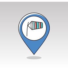 Windsocks inflated by wind pin map icon weather vector