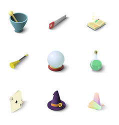 Wizard stuff icons set isometric style vector