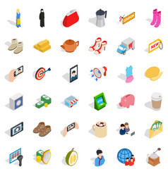 Woman dress icons set isometric style vector