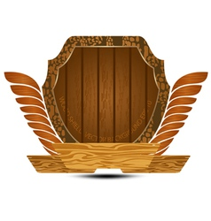 Wooden shield on a white background vector image vector image