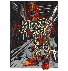 ZOMBIE in Pajamas on the Night Street vector image