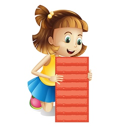 A girl holding an empty red board vector