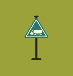 Warning road sign gasoline tank truck vector