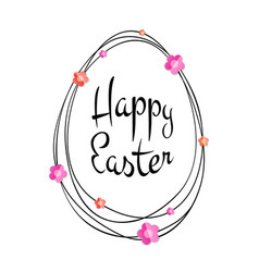 Happy easter lettering scribble egg and flowers vector