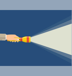 Hand holding flashlight vector
