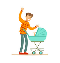 young father walking with his newborn baby in a vector image