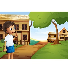 A boy at the pathway in the neighborhood vector