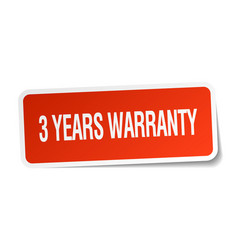 3 years warranty red square sticker vector