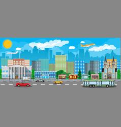 Modern city view public transportation system vector