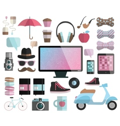 Hipster design elements set vector