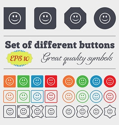 Smile happy face icon sign big set of colorful vector