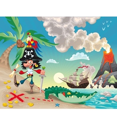 Pirate on the island vector