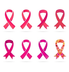 Set of pink and red ribbons of breast cancer in vector
