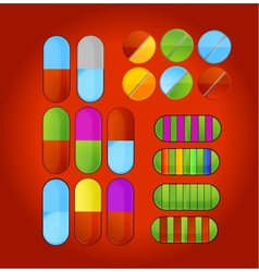 Shiny colored medic pills vector
