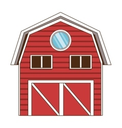 Red wooden barn icon vector