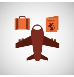 Travel airplane passport bag vector