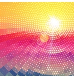 Abstract radial colorful sunset technology vector image vector image