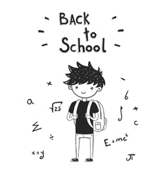 back to school card with boy vector image