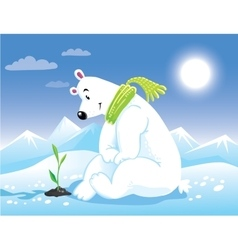 Bear on arctic sunny landscape greeting card vector