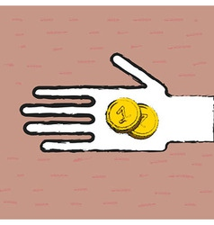 Beggar hand with coins vector