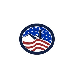 Cross on hill american flag circle vector