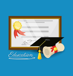 cute diploma of graduation to education study vector image vector image