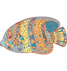 doodle zentangle fish zen art coloring page for vector image vector image