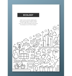 Ecology - line design brochure poster template A4 vector image vector image