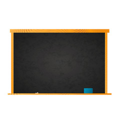 empty school blackboard in wooden frame with chalk vector image